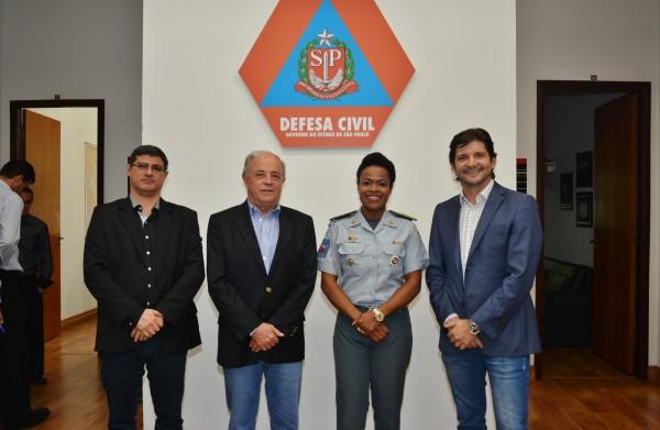 Presidente da Câmara Técnica do Condemat, Edson Moraes, o secretário executivo do Condemat, Abel Larini, a coronel Helena e o deputado André do Prado