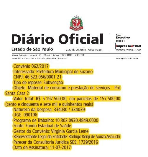Publicação do recurso no Diário Oficial do Estado
