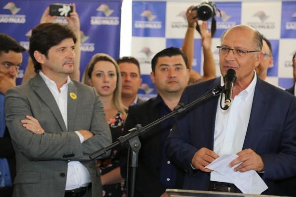 Deputado André do Prado e governador Geraldo Alckmin em cerimônia de entrega da ampliação do Hospital Estadual de Suzano