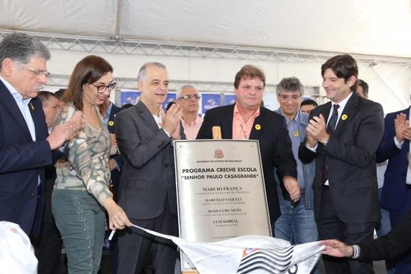 Governador Márcio França, faz a entrega simbólica da creche escola, Senhor Paulo Casagrande, em Tremembé